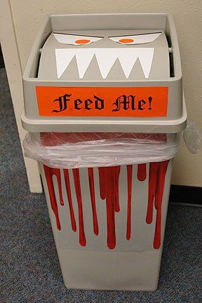 Halloween office decorations - monster trash can