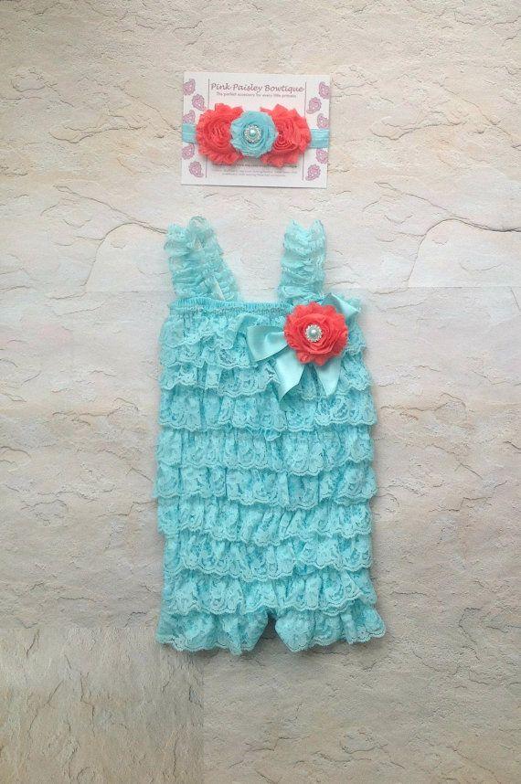 Petti Romper - 3 pc SET- Aqua & Coral Petti Romper- Ruffle Romper -Baby Girl Rompers -Ruffle Rompers - 1st Birthday Outfit - Baby Romper on Etsy, $34.99