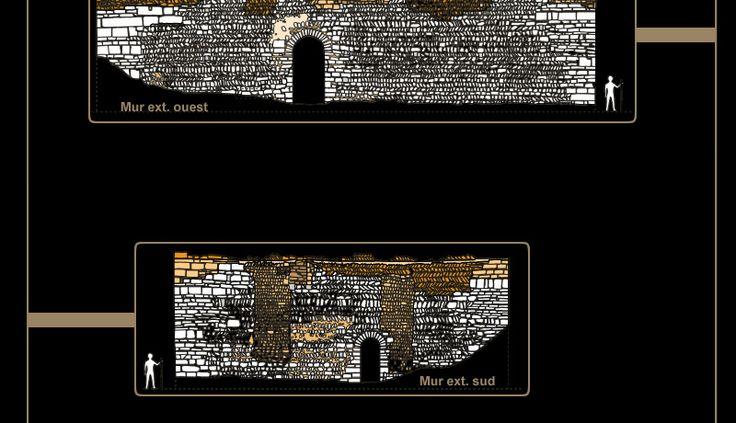 Aula de Doué: murs extérieurs O et S.- AULA DE DOUE, 3) QUEL EDIFICE ?. 3.2 L'AULA DE ROBERT, COMTE DU POITOU ET ROI DE FRANCIE OCCIDENTALE, 4: En effet, en 853 Anjou et région de Blois font partie du commandement attribué à ROBERT LE FORT et sont gouvernées en son nom par des vicomtes. Peu à peu, alors que les Robertiens accèdent à la couronne, les vicomtes d'Angers de de Tours s'émancipent.