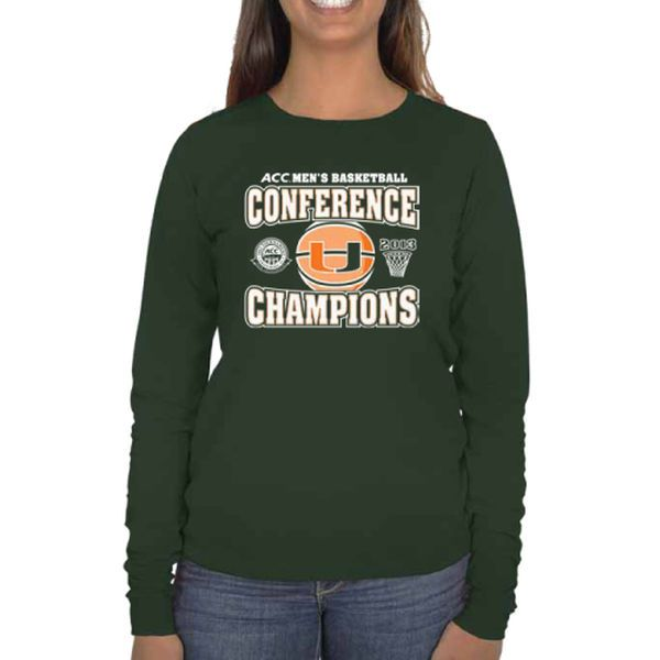 Miami Hurricanes Women's 2013 NCAA ACC Men's Basketball Tournament Champions Long Sleeve T-Shirt - Green - $7.99