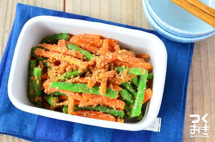お弁当にも入れやすい定番おかず。緑とオレンジが彩りよく、バラバラしないので食べやすいです。小分けにして冷凍保存も出来ます。