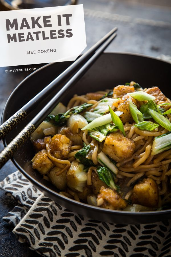 Mee Goreng with Tofu and Bok Choy // noodles, dark brown sugar, molasses, soy sauce, shallots, garlic, chili sauce, extra-firm tofu, cornflour, vegetable oil, bok choy, spring onions, lime