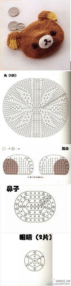 """Schéma ou diagramme pour crochet Modèle """"porte monnaie ourson"""""""