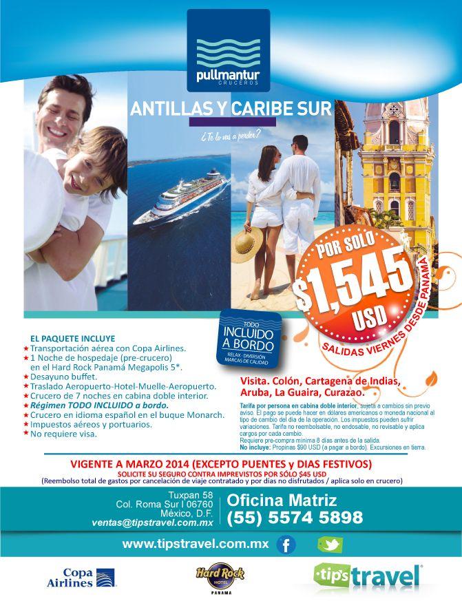 Crucero por Las Antillas y Caribe del Sur. Visita Colón, Cartagena de Indias, Aruba, La Guaira y Curazao. Plan Todo incluido a bordo.