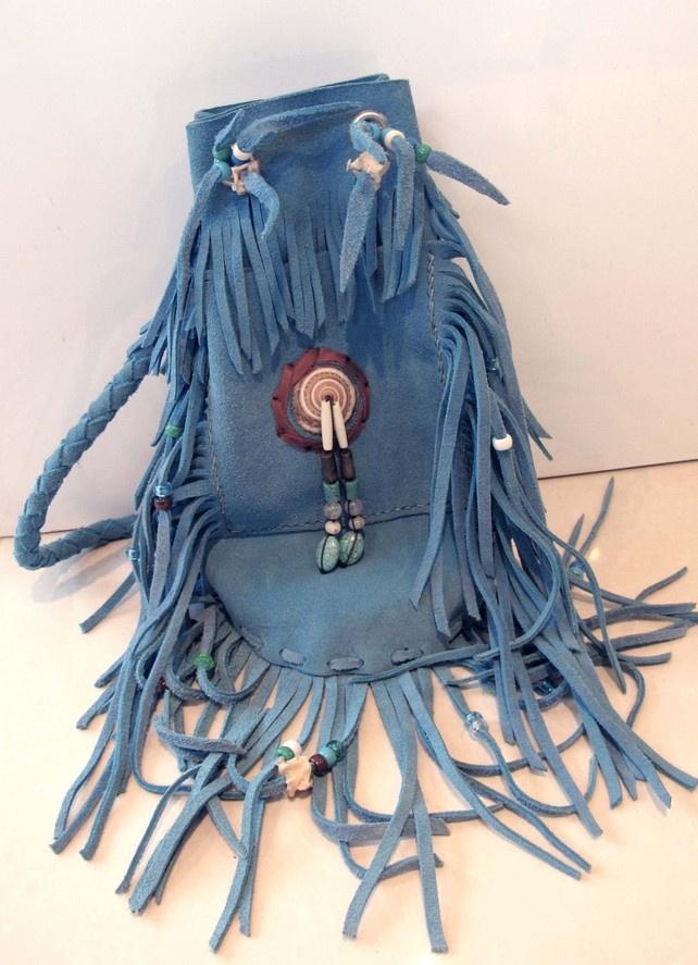 Handmade Turquoise Tassel Bag- hippy boho beach style £65.00