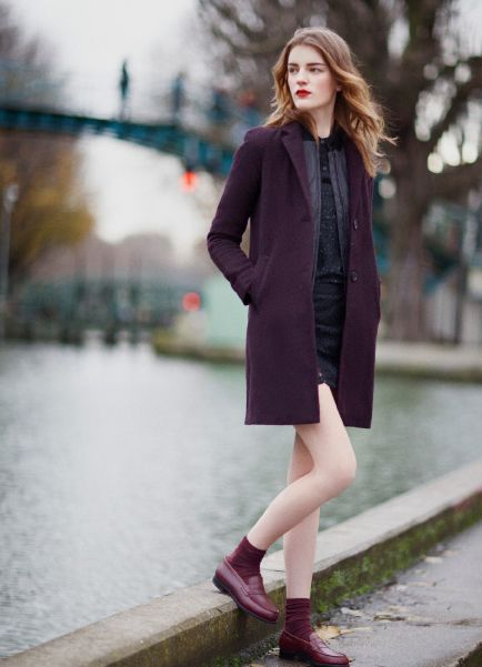 Aritzia Paris  the colour is a bit too matchy but I love the loafer/sock combination with the overcoat