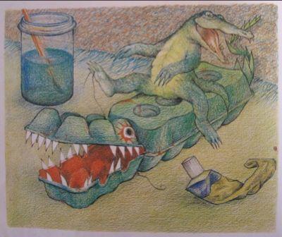verhaal bij krokodil uit eierdozen