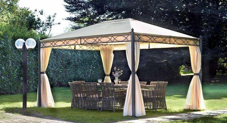 OFFERTASPECIALE! Gazebo da giardino 3x4 tende laterali struttura in ferro (372)