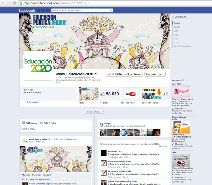 Facebook oficial de la organización.     Realizada como página, al momento de la medición (24 de sept.) cuenta con 58.630 likes y 53 personas hablan de aquello.