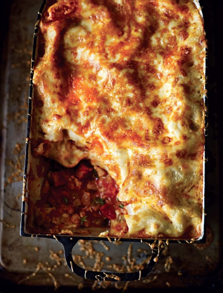Chicken and Chorizo Lasagne from Dean Edwards' Mincepiration. This is a Spanish take on a classic Italian dish – lynch me if you like, but you really should give this a go. You can use turkey or pork mince in this recipe too if you want to skip mincing the chicken thighs. Lovely served with a crisp side salad and some garlic bread. http://thehappyfoodie.co.uk/recipes/chicken-and-chorizo-lasagne
