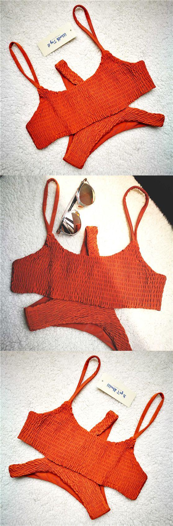 orange burnt crop top bandeau bikini! Swimming suits scrunch bikini micro bikinis frill flounce bathing suits Worthtryit Save an extra 15% off on $30+ use code TWOBIKINIS