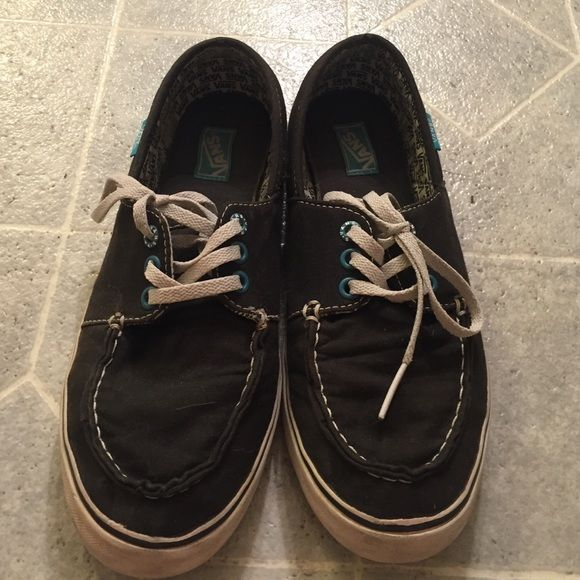 Black Boat Shoe style Vans Lightly used black boat shoe style vans. Still in good condition. Vans Shoes Sneakers
