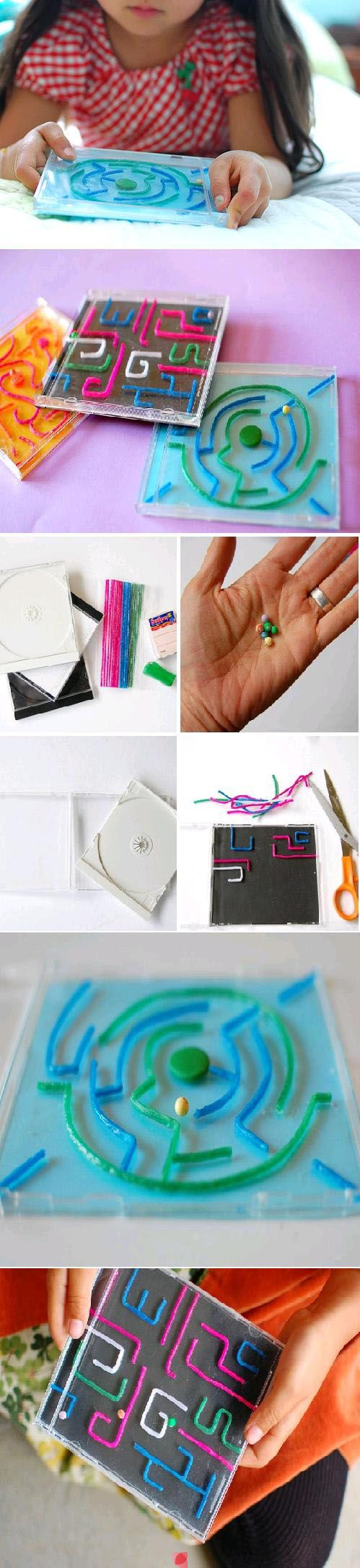 DIY : CD Case Maze Toy--Could not find instructions, but I think pipe  cleaners are used for the