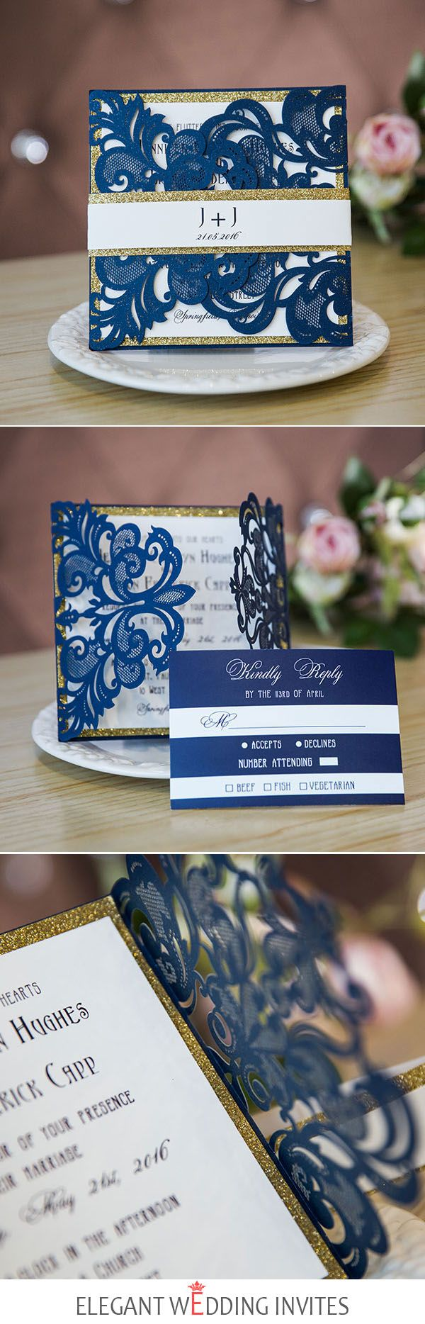 Navy Blue Laser Cut Wedding Invitations With Glittery Bottom Cards And Bands EWWS136