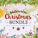 Watercolor Christmas Bundle of 350+ Design Elements - only $17!
