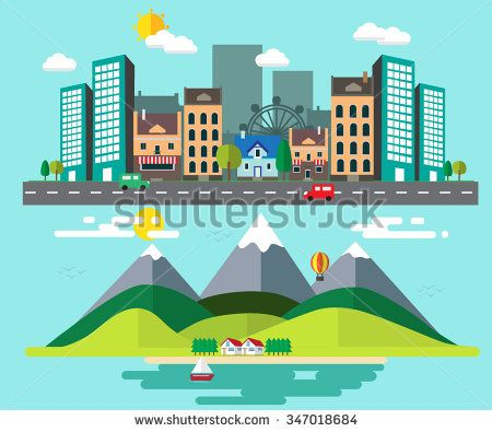 how different between rural places and urban areas with flat design