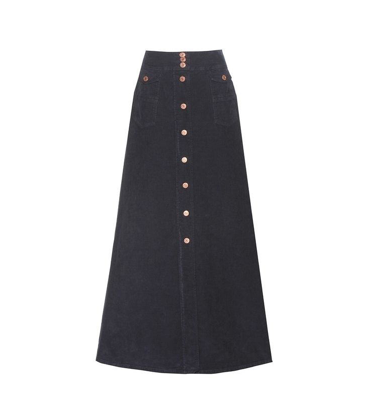 See By Chloé - Corduroy cotton maxi skirt - See By Chloé's corduroy skirt is a new-season favourite. The navy style comes cut in a maxi, A-line silhouette for a standout effect with an undeniable '70s feel. Team yours with terracotta hues for a palette that's in line with the label's vibe. seen @ www.mytheresa.com