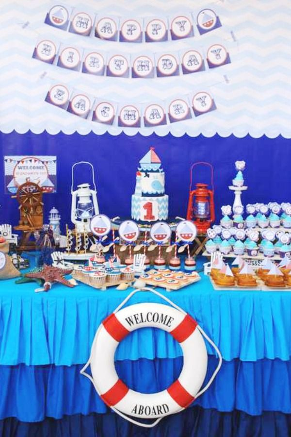 Another All Time Favorite 1st Birthday Party Theme Are Nautical 1st Birthdays Just Like Prince 1st Boy Birthday Boy Birthday Parties 1st Birthday Party Themes