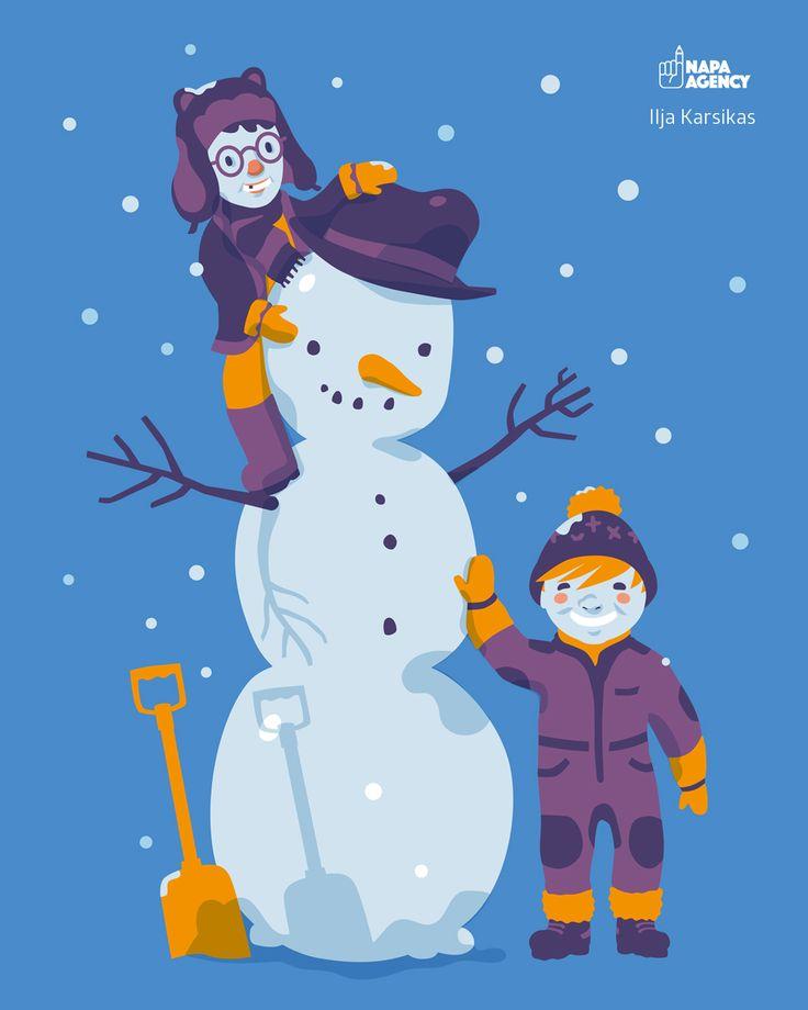 """Happy Valentine's Day! /// Hyvää ystävänpäivää!  """"Snowmen"""" by Ilja Karsikas, 2016. Download this fresh illustration for your desktop here: http://napa-agency.fi/desktop-wallpapers/?lang=en"""