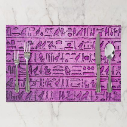 Ancient Egyptian Hieroglyphs Purple Placemats - Halloween happyhalloween festival party holiday