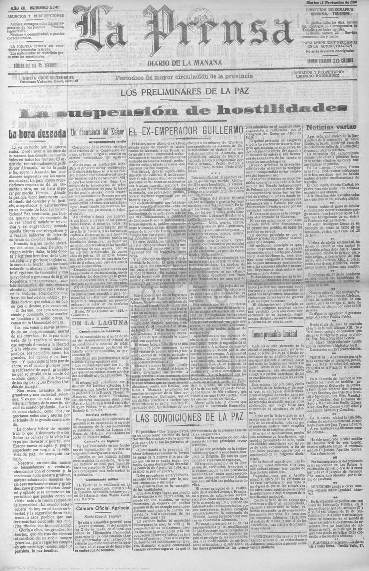 La Prensa-12 de noviembre de 1918. Dedica las páginas uno del periódico y tres a Informar sobre la suspensión de hostilidades.