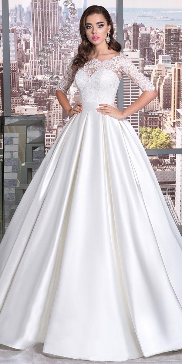 Magbridal Elegant Tulle & Satin Bateau Neckline A-Line Wedding Dress With Lace Appliques & Belt