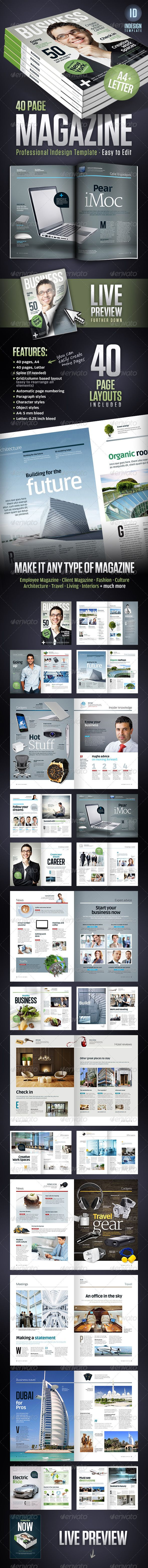 Business Magazine Template A4 + Letter - 40 pages