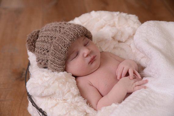 Baby Pom-Pom Hat. Baby Hat.  Baby Beanie KNITTING by haloopajoop