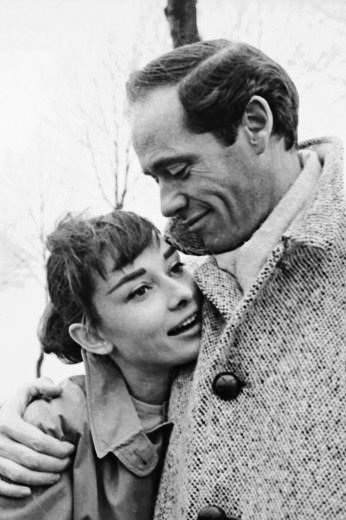 Audrey Hepburn and Mel Ferrer pose for pictures during a roadside excursion somewhere in France, 1956. Photographs by Ed Feingersh.  (This picture is one of Sean Ferrer's favorite photographs of his parents.)