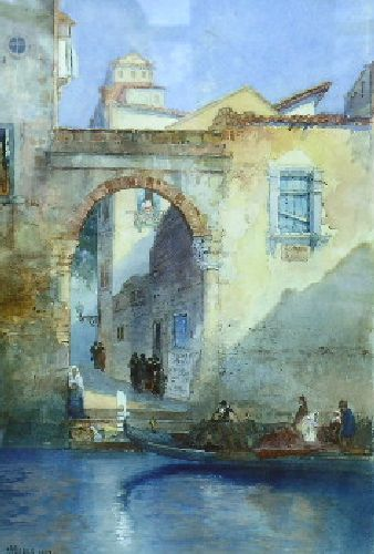 """Venice,"" Thomas Moran, 1894, Watercolor with traces of pencil heightened with white on paper laid to board, 14 1/2 x 10"", private collection."