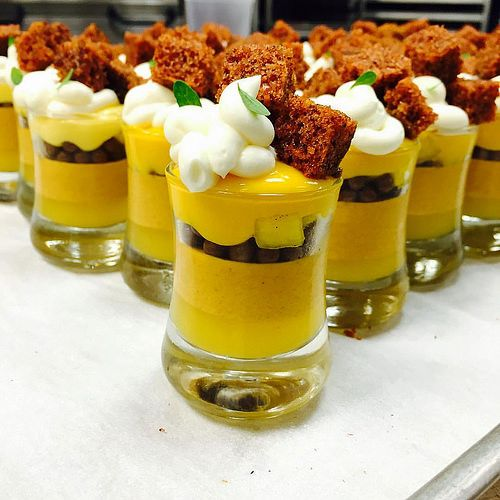 Pineapple gelee, carrot cremeux, milk chocolate pearls, pineapple compote…