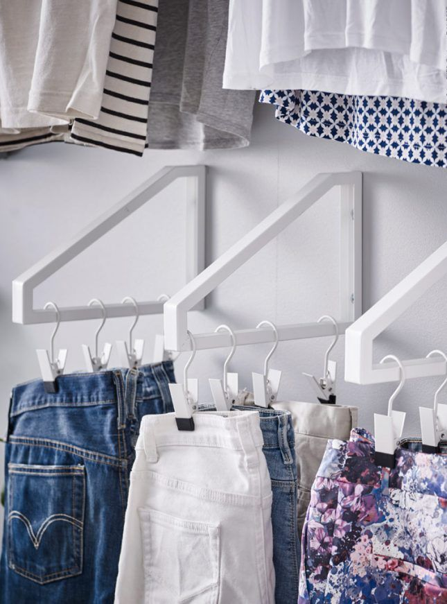 Maximize wall space. You've cut down on the number of clothes you own, but you're still left with quite the wardrobe. No problem — make it seem like you own less while maximizing wall space with this DIY IKEA Bracket Hack. Turn shelf brackets into innovative supports for your hangers and hooks. (via IKEA)