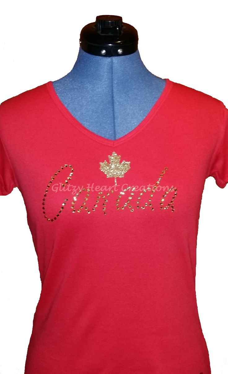 Shirt design london ontario - Rhinestone Decorated T Shirt Canada Design With Maple Leaf Women S Tee Crystal Decorated Shirt