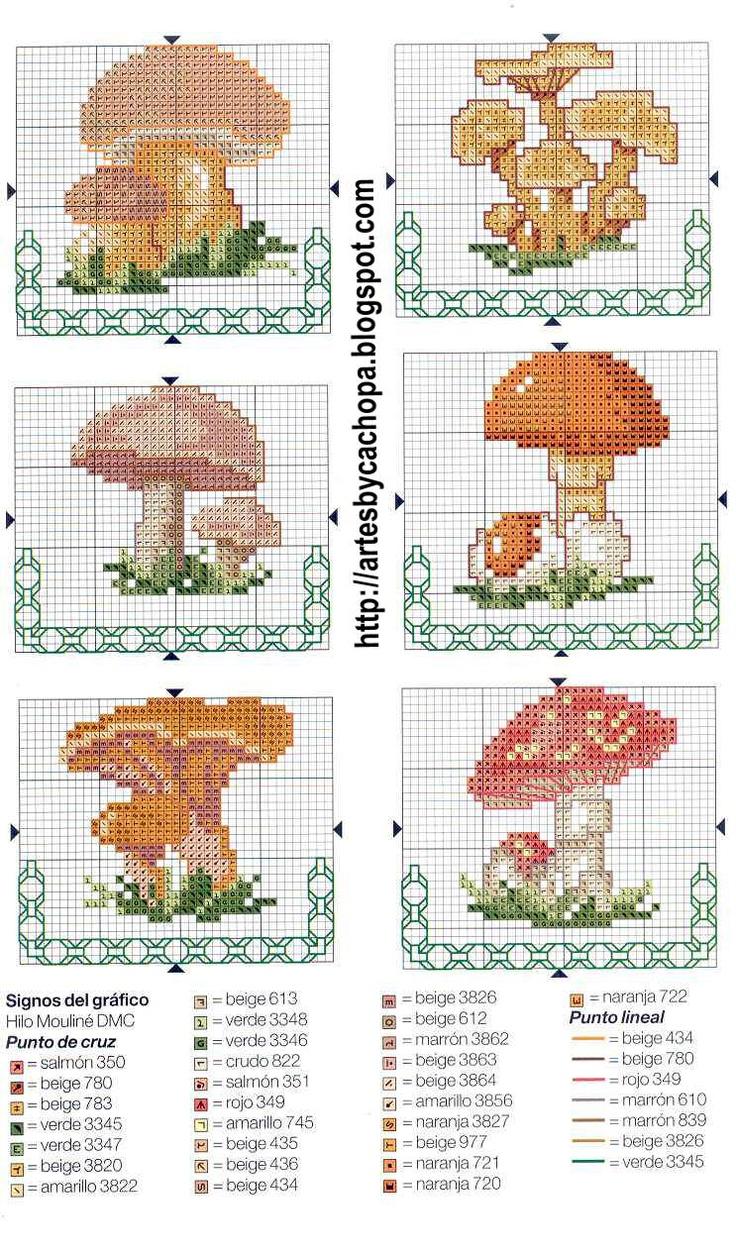 Arte by Cachopa - Ponto Cruz I: Gráficos de cogumelos