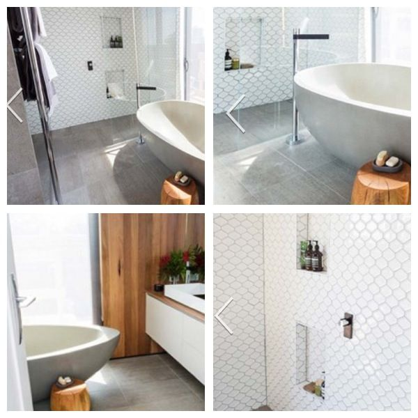 Love the white tiles mixed with the wood. Definitely want the built-in shelving in the shower and the freestanding bath and taps. - Kyal and Kara, The Block 2014