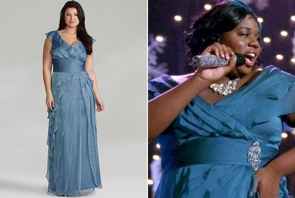 Alex Newells Mallard Blue Evening Gown.  Alex Newell's Mallard Blue Evening Gown   If you want to play it safe with eveningwear, go with your trusty LBD—but if you want to get noticed, why not try an unexpected color? Alex Newell wore a super-pretty frilled, crossover mallard-blue empire-sashed gown on last night's episode of Glee and we're so inspired by it! To get a similar look, try this Adrianna Papell tiered gown from Dillard's, which is available in sizes up to 24W.
