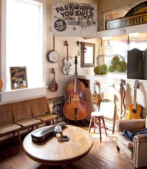 I like the idea of decorating with old musical instruments (bluegrass style - banjos, fiddles, etc.)