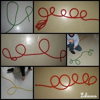 Great center activity for 3's to reinforce line. Students make line designs with colored rope and then they draw what they create.