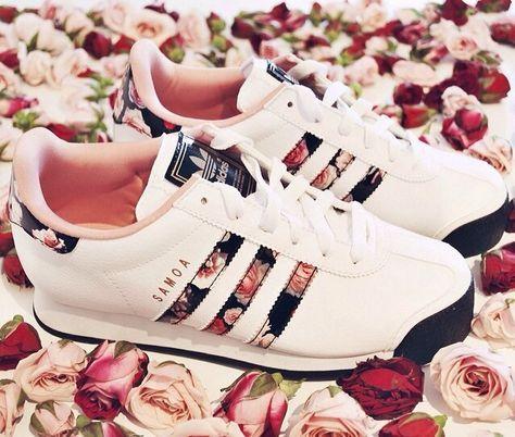 Adidas-Frauen samoa weißen Blumen laufende Turnschuhe Rose Schuhe 6,5 7 Outlet