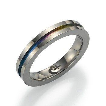 Titanium Ring with Rainbow Cutout
