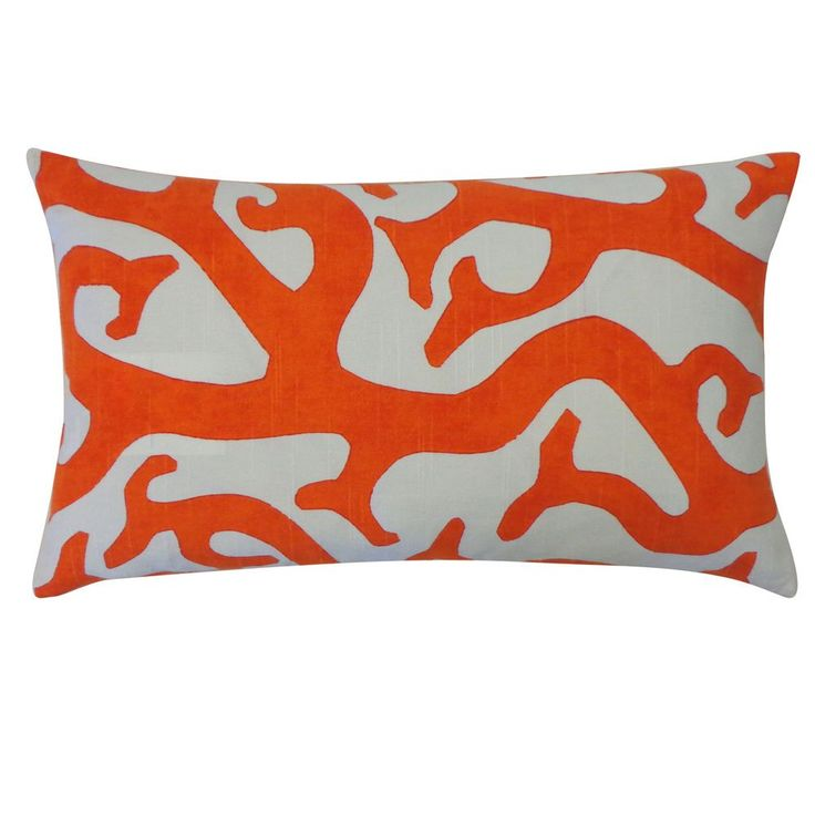 Brighten up any room with this bold reef orange pillow. With a long shape, this pillow is a natural fit for any bed, sofa or chaise lounge. The bold print draws the eye and creates a fun focal point in your room.