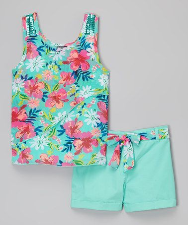 Another great find on #zulily! Mint Floral Tank & Shorts #zulilyfinds