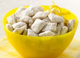 Lemon Chex Mix. Rice Chex cereal, white vanilla baking chips, lemon peel,