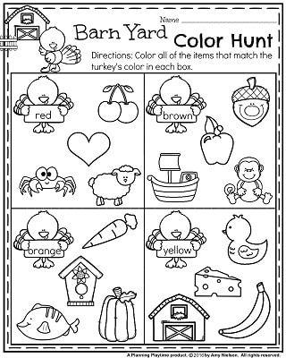 November Preschool Worksheets - Barn Yard Color Hunt.