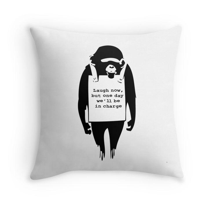 Banksy Print Monkey Laugh Now Chimp Throw Pillows