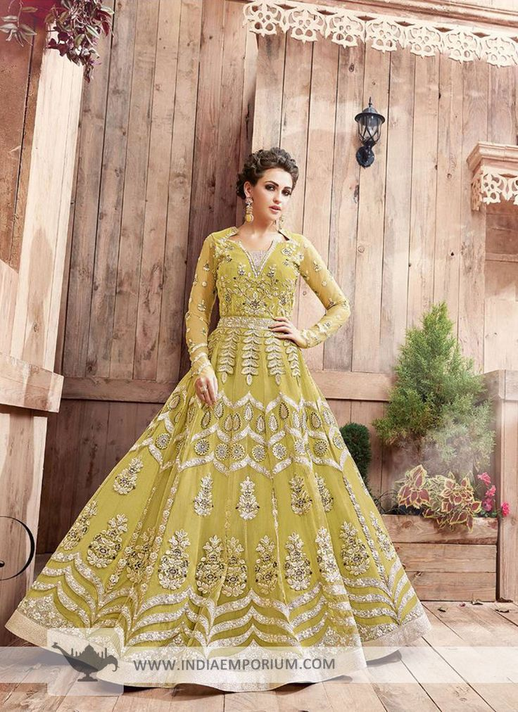 Mesmerizing Net Bridal Paper Lime Embroidered Anarkali Suit/Gown