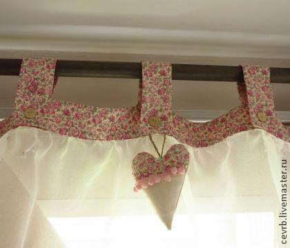 Ламбрекен с сердечком - ламбрекен,лен,розочки,вуаль,шторы,кухня,детская