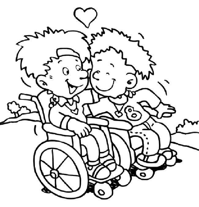 Children With Disabilities Coloring Page