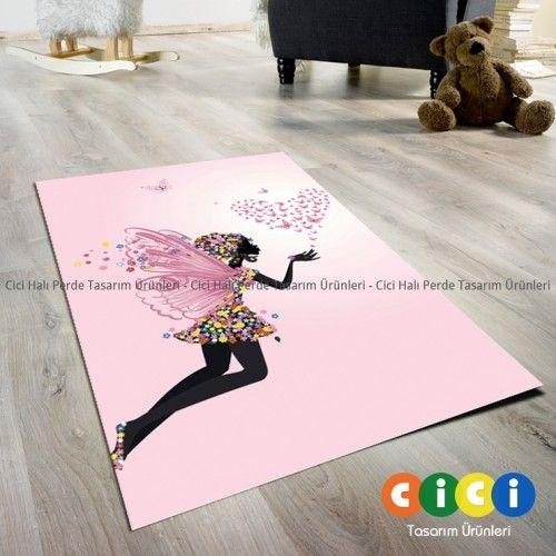 Pastel Kalpli Kelebekli Kız Çocuk Odası Halısı