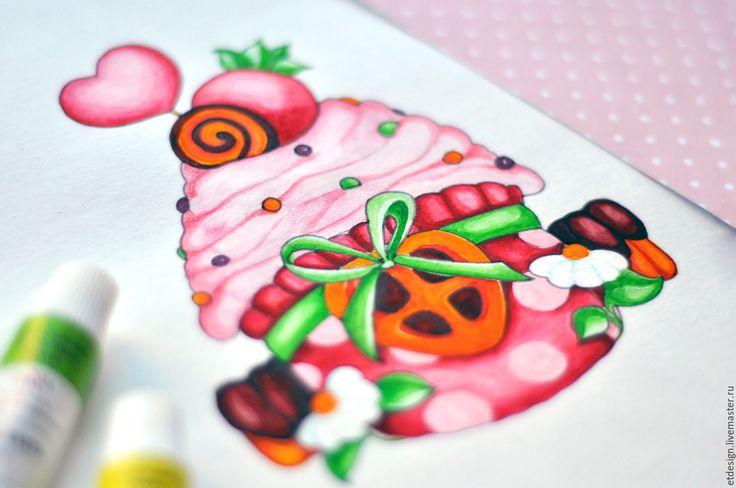 """Купить Акварельный логотип """"Дома Вкусно"""" (148х210) - комбинированный, логотип, лого, дизайн, графическийдизайн, иллюстрация"""